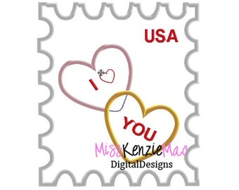 Valentine I Love You Heart Stamp Machine Applique Embroidery Design, Mulitple Sizes
