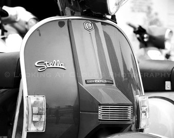 Vespa, black and white scooter art photo, Vespa scooter wall decor, Italian scooter, Audrey
