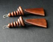 Vintage Silver Brown Wood Wooden Large Earrings Geometric Natural Organic Tribal Viking Boho Jewelry