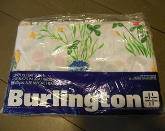 Floral Full Size Flat Sheet, By Burlington, Spring Sachet, New in Package, Old Stock