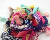 50 Wholesale Bulk FOE Hair Ties elastic pony tail holder chevron, glitter, polka dot, patterns