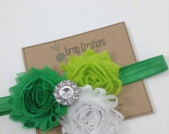 St Patrick's Day Headband Green Headband Shabby Flower Headband Shabby Flower Headband Newborn Headband Photo Prop