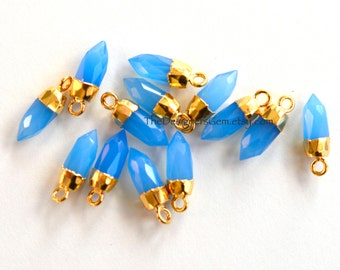 Blue Chalcedony Bullet Spike Point Pendant Capped in Gold 16x5mm