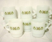 Anchor Hocking Fire-King Milk Glass Mugs Meadow Green, Stackable Set of 8