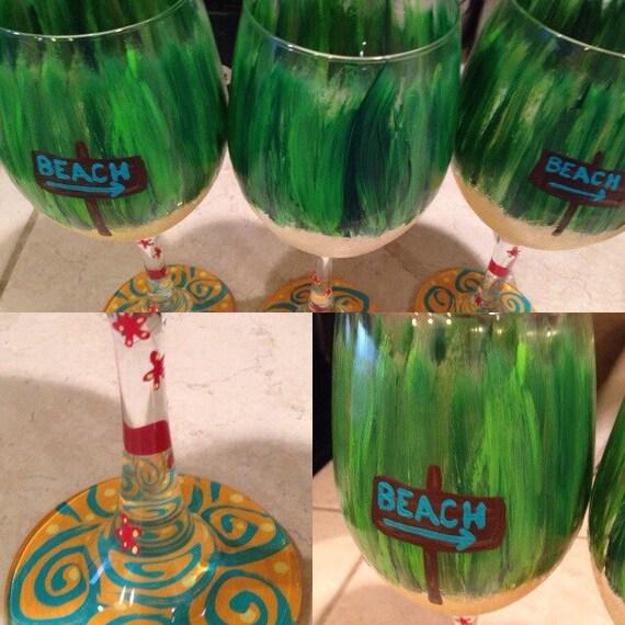 Beach Wineglass, Beach Bum Wine glass, beach babe, spring break wine glases