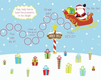 PRINTABLE Personalized Kids Incentive/Reward Chart - Santa Adventure Printable Jpeg or PDF