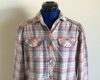 Tan, Red, Blue Ladies Vintage Country Shirt, 42 bust, 36 waist, 24 sleeve, Size Medium, Western
