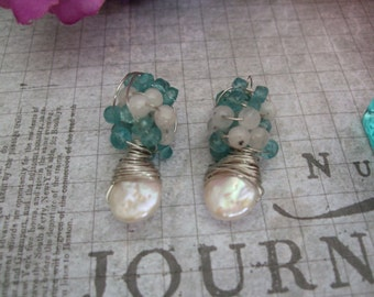 Pearl Apatite and Moonstone Earrings