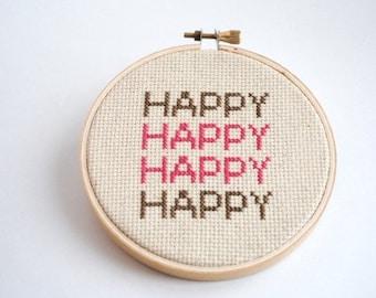HAPPY STACK Modern Cross Stitch Pattern