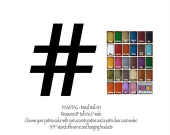 """Hashtag # metal wall art - 18"""" tall - choose your color with rust patina - twitter symbol - hashtag sign metal wall art geekery wall art"""