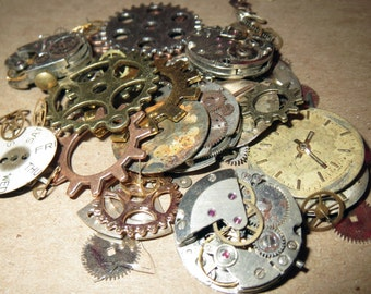 1-1/2 OZ (42g) STEAMPUNK GEARS and Movements Mixed Lot Whole Vintage Watches, New Clock Style Gears, Old Parts, Faces Steam Punk