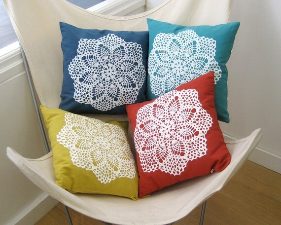 Handmade Pillow cover · Hand screenprinted Pillow case · Decorative pillow · Throw pillow cover · White Granny square · Doily