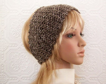 Crochet headband - boho headwrap, ear warmer - taupe brown - Women's Winter Fashion Winter Accessories - Sandy Coastal Designs ready to ship