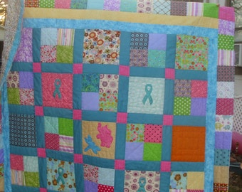 Ovarian Cancer Quilt / Cancer Awareness Quilt / Ribbon Cancer Quilt / Hand Quilted / Made to Order / Patchwork Cancer Quilt