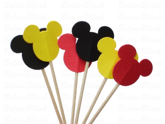 24 Decorative Red Black Yellow Mickey Mouse party picks, toothpicks, food picks, cupcake toppers - No720