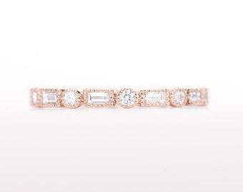 CERTIFIED - E-F, VVS-VS Baguette & Round Diamond Wedding Full Eternity Band 14K Rose Gold