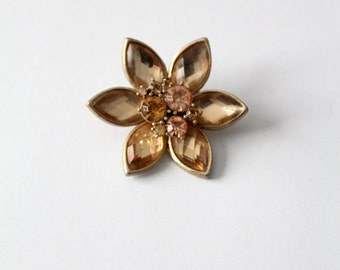 1950s rhinestone brooch, flower pin
