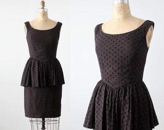 Betsey Johnson dress, 80s black peplum dress