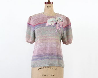 FREE SHIP  1980s pastel knit top, short sleeve sweater blouse