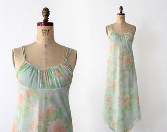 1970s Diane von Fürstenberg loungewear, pastel nightgown, sheer dress