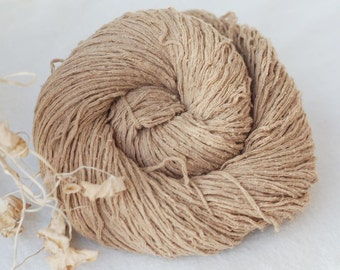 Pure Silk Yarn,Matte,Khaki.Beige,Light Brown, Fingering Weight, Upcycled, 195 yards
