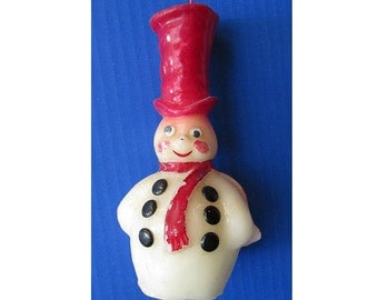 1950's Snowman Novelty Christmas Candle, 7 inches high