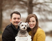 """Dog Bone Wooden Sign - Save the date - Engagement Photos - Photo Prop 5"""" x 12"""" MADE TO ORDER"""