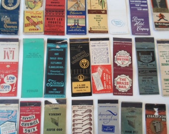 Vintage Matchbook Collection Multi Colored 30 Vintage Graphics Hotels School  Bars Restaurant