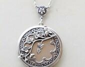 Locket Necklace,Cherry Blossom,Jewelry,Necklace,Pendant,Locket,Silver Locket,Antique Style,Flower Locket,Flowert,Wedding Necklace,bridesmaid