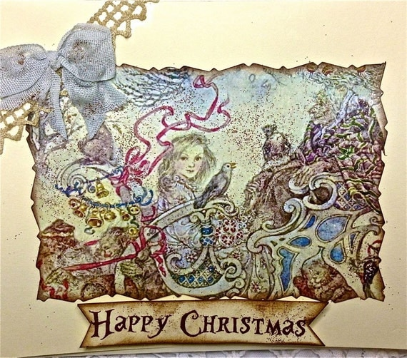 ETHEREAL FAIRYTALE CHRISTMAS Card, Mixed Media Art Card, Rustic Glitter, Vintage Image, Bunnies, Ribbons, Elves and Bells