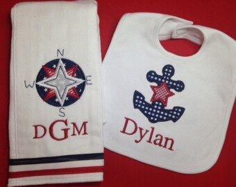 Personalized Nautical Bib and Burp Nautical Set for Baby Boy or Girl with Custom Monogramming