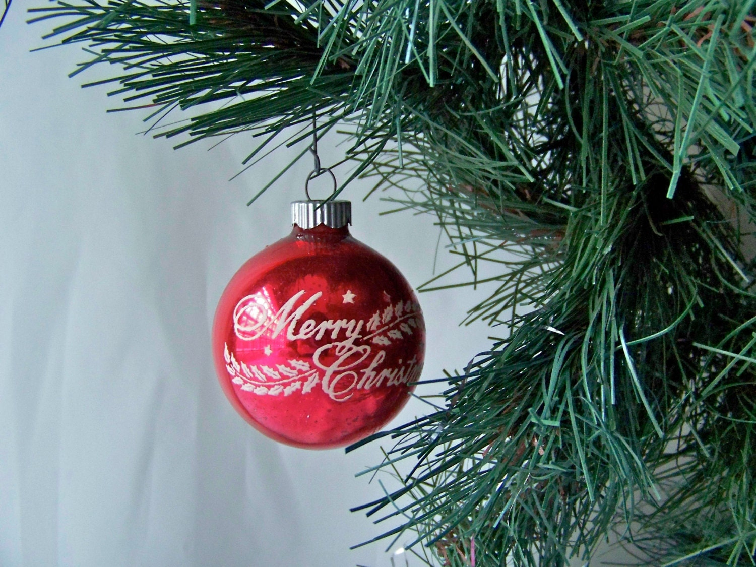 Vintage Christmas Ornament Stencil Red Glass Ball by ...