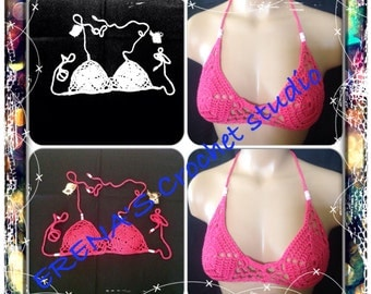 Crochet Festival Halter Top in size B to C.