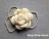 Flower Millinery -1PCS Beige Sequin and Lace  Handmade Flower  Millinery(F8)