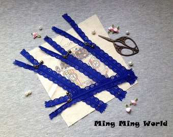 5 PCS Prussian Blue Lace Zippers Supplies Trim, Fabric Crafts Alterations Supplies Handmade Fabric Supplies(Z12)