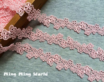 Venice Lace Trim - 2 yards Pink Flower Lace Trim (L535)