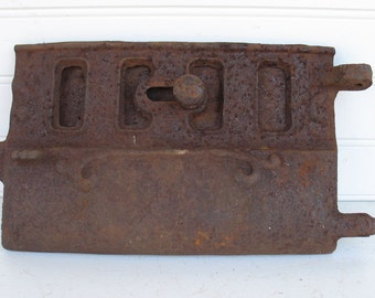 Vintage Cast Iron Wood Stove Door and Damper - Rustic Charm