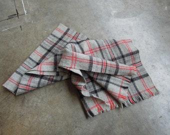Vtg Grey Wool Plaid Winter Muffler AS IS
