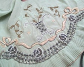 Antique Vintage French Green Silk Embroidered Ribbon Bow Glass Beaded Dress Scraps Salvage A21