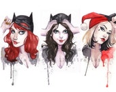 UnMasked Batman Batgirl Catwoman Harley Quinn inspired Pin Up watercolor art print Carla Wyzgala Carlations