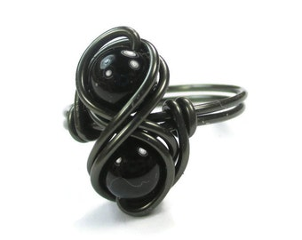 Gothic Jewelry - Gemstone Infinity Ring - Wire Wrapped Promise Rings