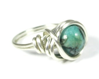 Green Jasper Ring - Wire Wrapped Boho Jewelry - Silver Rings
