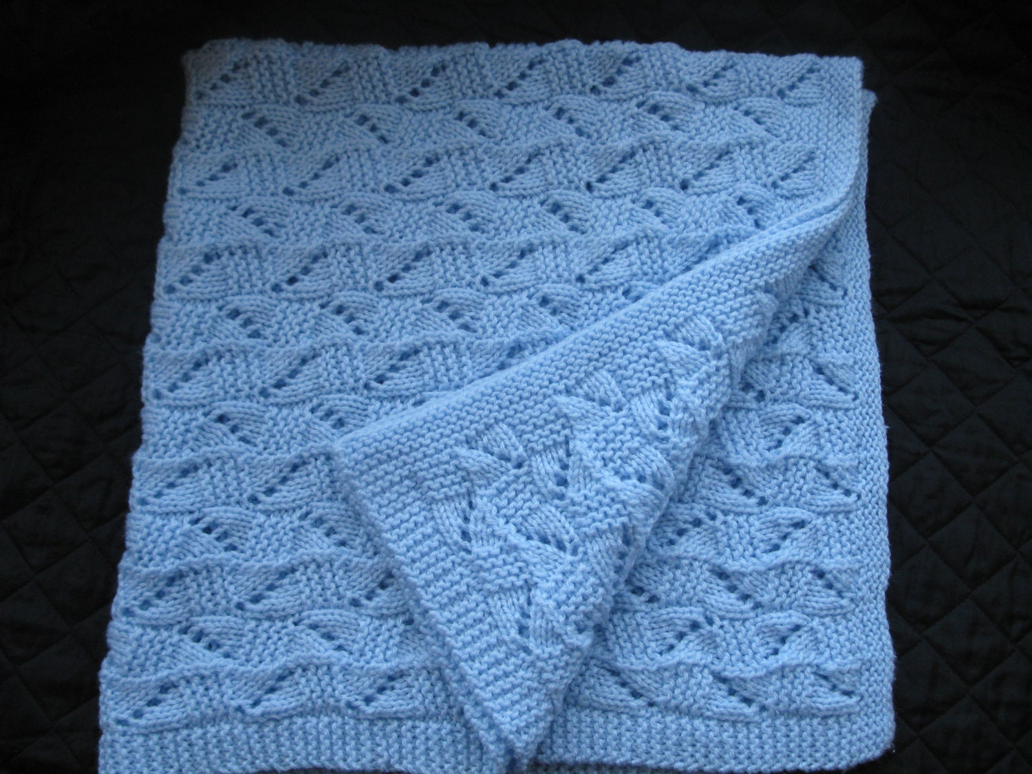 Baby Cot Blanket Knitting Pattern : Vintage Hand Knitted Baby Blanket. Lovely Soft Knit by Clarazelli