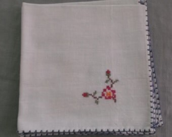 Vintage Napkins Pale Green Cotton with Blue Edges and Hot Pink Embroidery 3 Napkins