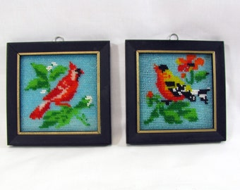 Vintage 1970s Framed Beaded Bird Pictures Cardinal  and Other Bird