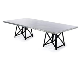 Zinc Table Zinc Dining Table - The Uptown Rectangular Zinc Top Dining Table - Black Steel Base