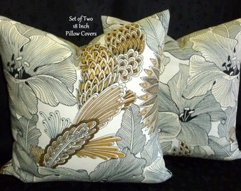 Decorative Pillows, Throw Pillows, Pillow Covers, Accent Pillows, Home Decor  -  Set of Two 18 Inch - Black, Ivory, Taupe