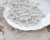 Vintage White Glass Beads - Pearlescent Set of 145 - Lot 789