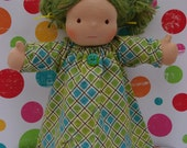 SALE - Green and  Blue Flannel Nightgown for 15-16 inch Waldorf Inspired Dolls