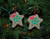 Christmas Cookie Stars (set of 2) Cross Stitch Ornaments